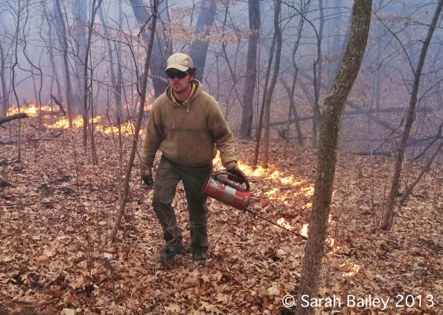Myself putting fire on the ground at Indian Cave State Park.  700 acres were burned here in about 9 hours.