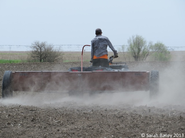 Planting with drop spreaders is relatively easy - drive the pulling vehicle (ATV in this case) and make uniform passes that cover the longest ground in each pass - and don't run out of seed and keep going!