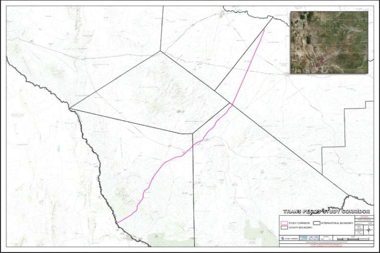 Trans-Pecos Pipeline route map. Map from http://transpecospipelinefacts.com/assets/waha_transpecos_county_maps_overview--low-res-.pdf